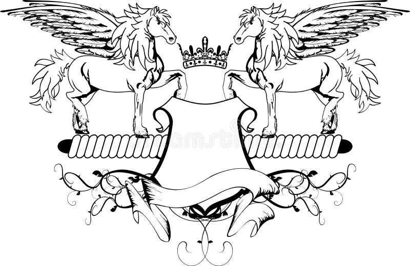 Εραλδική ασπίδα λόφων καλύψεων pegasus των όπλων διανυσματική απεικόνιση