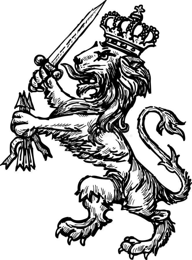 Εραλδικό λιοντάρι διανυσματική απεικόνιση