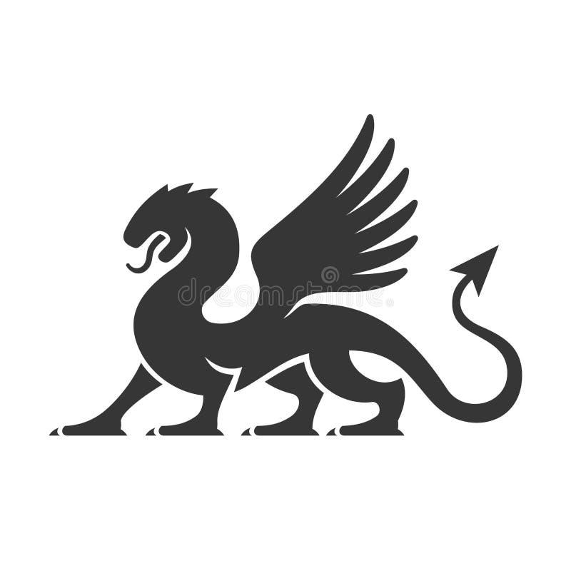 Εραλδικό λογότυπο σκιαγραφιών δράκων διάνυσμα ελεύθερη απεικόνιση δικαιώματος