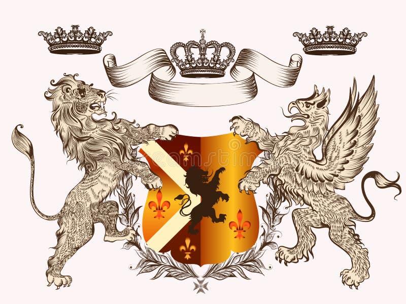 Εραλδικό σχέδιο με την κάλυψη των όπλων griffin, του λιονταριού και των κορωνών ελεύθερη απεικόνιση δικαιώματος
