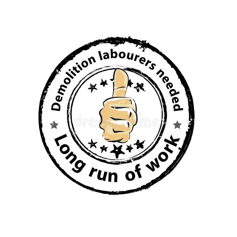 Εργάτες κατεδάφισης μισθώνουμε, απεικόνιση αποθεμάτων