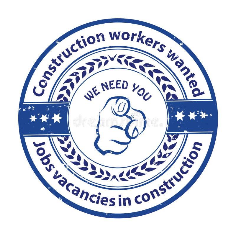 Εργάτες οικοδομών επιθυμητοί - ετικέτα διαφήμισης εργασίας διανυσματική απεικόνιση