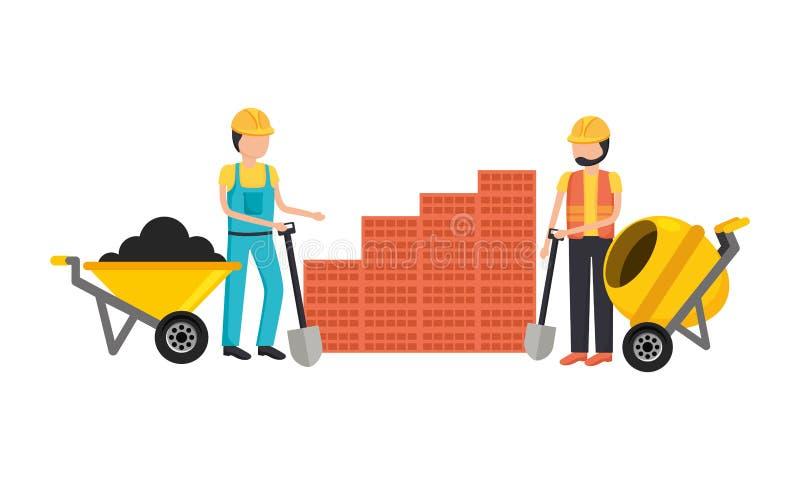Εργάτες οικοδομών με το κουτί εργαλείων ελεύθερη απεικόνιση δικαιώματος