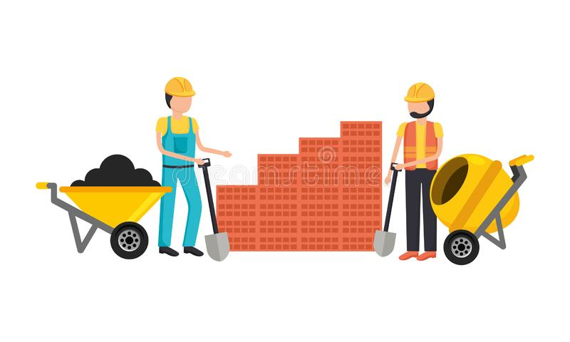 Εργάτες οικοδομών με το κουτί εργαλείων διανυσματική απεικόνιση