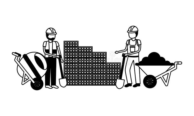 Εργάτες οικοδομών με το κουτί εργαλείων απεικόνιση αποθεμάτων