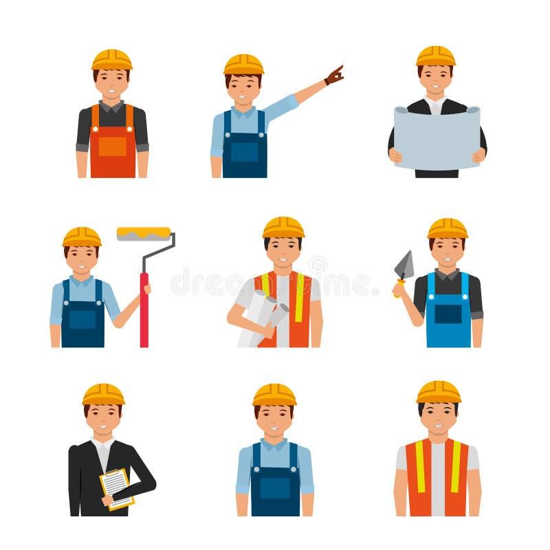 Εργάτες οικοδομών πορτρέτων με ομοιόμορφο και τα εργαλεία ελεύθερη απεικόνιση δικαιώματος