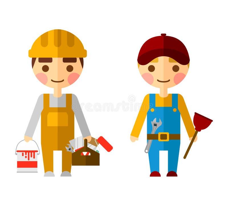 Εργάτες οικοδομών για το λευκό διανυσματική απεικόνιση
