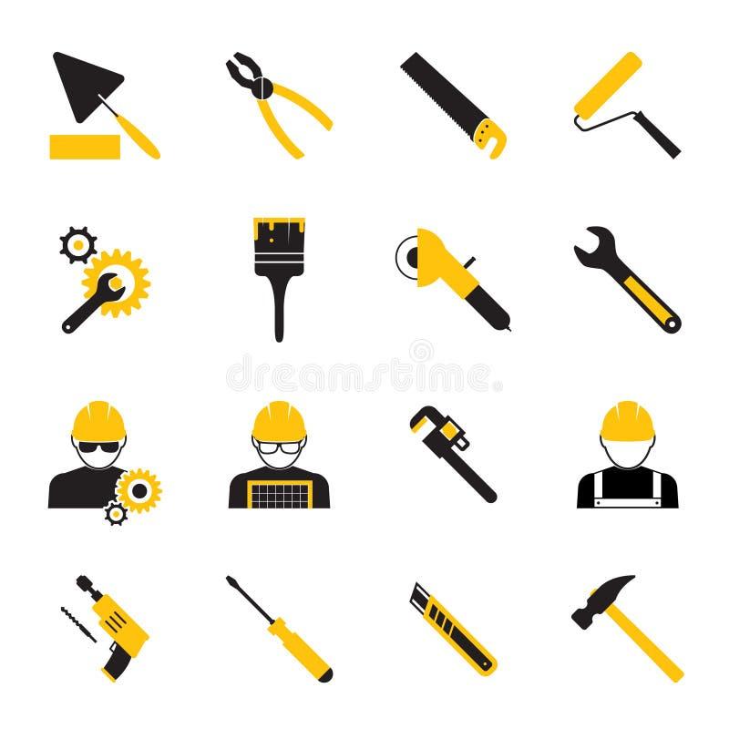 Εργάτες οικοδομών και εικονίδια εργαλείων ελεύθερη απεικόνιση δικαιώματος