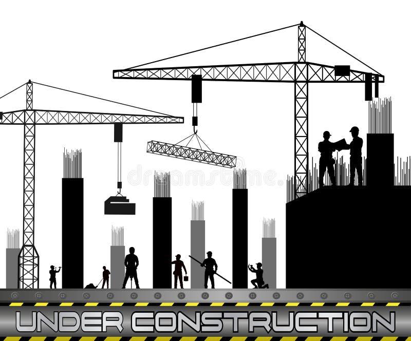 Εργάτες οικοδομών με τους γερανούς ελεύθερη απεικόνιση δικαιώματος