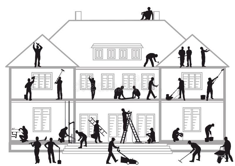 Εργάτες οικοδομών στην εργασία απεικόνιση αποθεμάτων