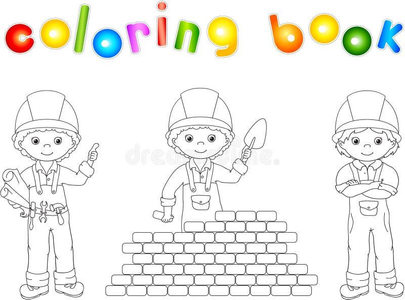 Εργάτες οικοδομών στη στολή τους γραφική απεικόνιση χρωματισμού βιβλίων ζωηρόχρωμη διανυσματική απεικόνιση
