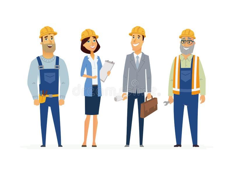 Εργάτες οικοδομών - σύγχρονη επίπεδη σύνθεση ελεύθερη απεικόνιση δικαιώματος
