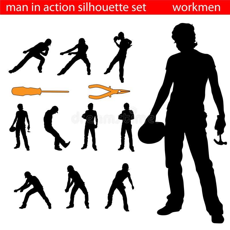 εργάτες σκιαγραφιών ελεύθερη απεικόνιση δικαιώματος