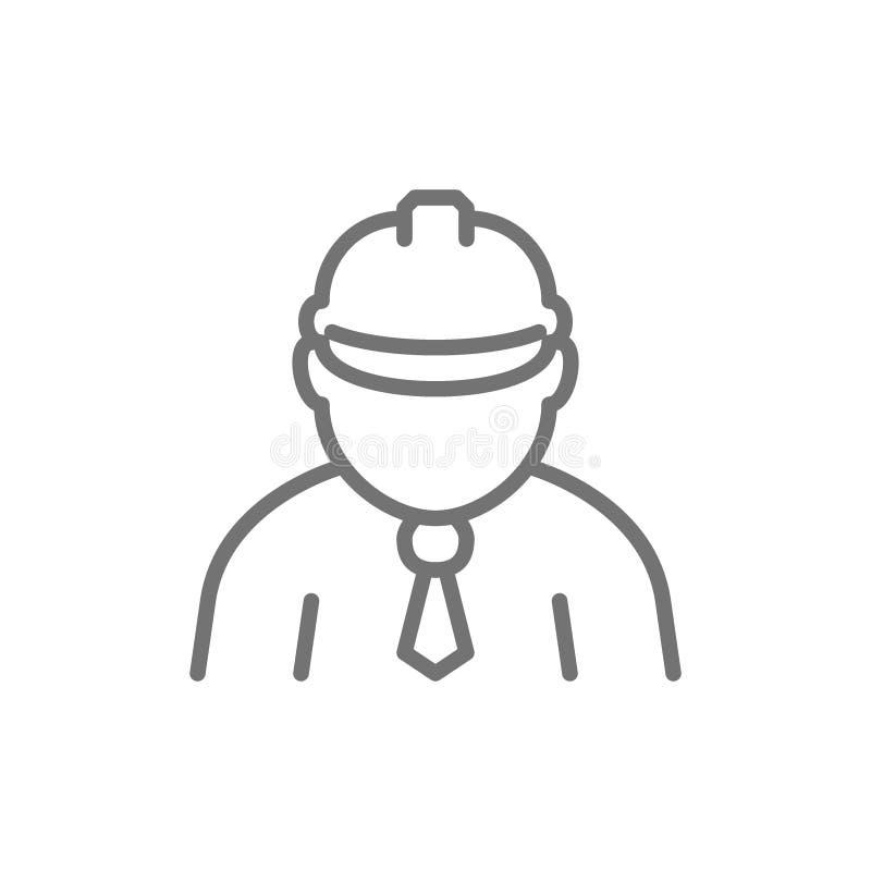 Εργάτης οικοδομών, επιστάτης, μηχανικός, εικονίδιο γραμμών αρχιτεκτόνων διανυσματική απεικόνιση