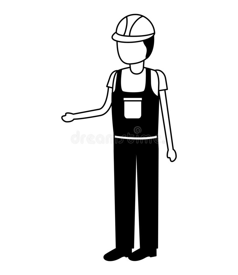 Εργάτης οικοδομών μέσα συνολικά απεικόνιση αποθεμάτων
