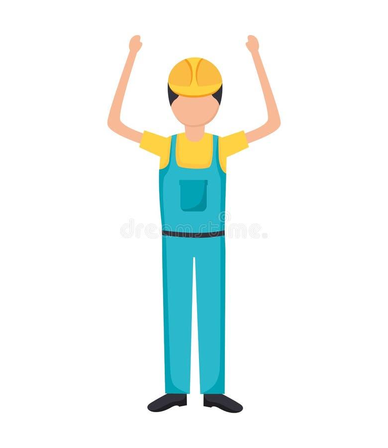 Εργάτης οικοδομών μέσα συνολικά διανυσματική απεικόνιση