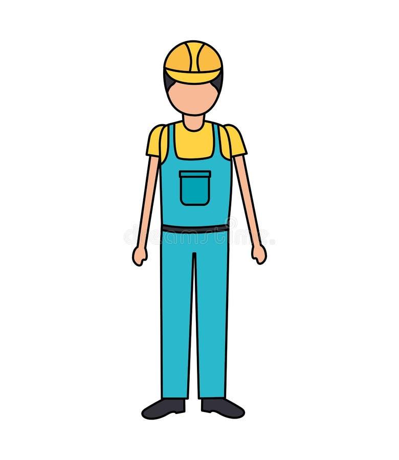 Εργάτης οικοδομών μέσα συνολικά ελεύθερη απεικόνιση δικαιώματος
