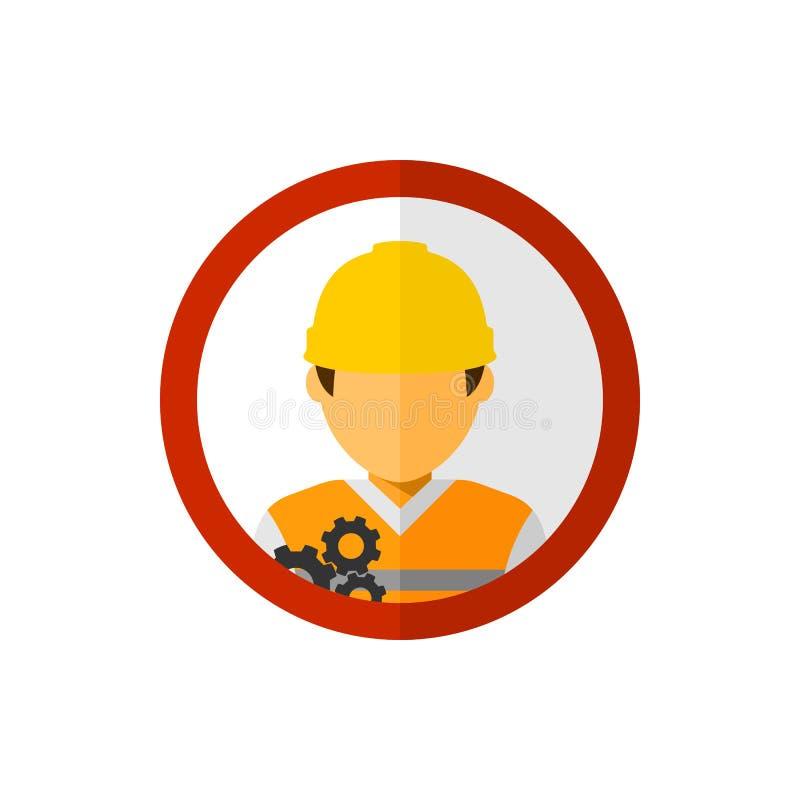 Εργάτης οικοδομών με το διάνυσμα ειδώλων κύκλων ελεύθερη απεικόνιση δικαιώματος