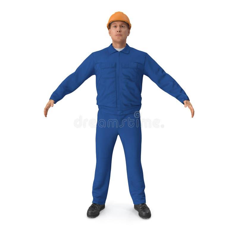Εργάτης οικοδομών που φορά τις μπλε φόρμες Illusration, που απομονώνεται τρισδιάστατο διανυσματική απεικόνιση