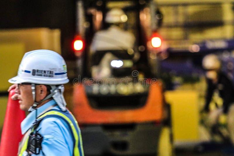 Εργάτης οικοδομών στο Τόκιο, Ιαπωνία στοκ φωτογραφία