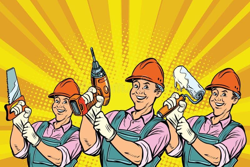Εργάτης οικοδομών με τα εργαλεία επισκευής ελεύθερη απεικόνιση δικαιώματος