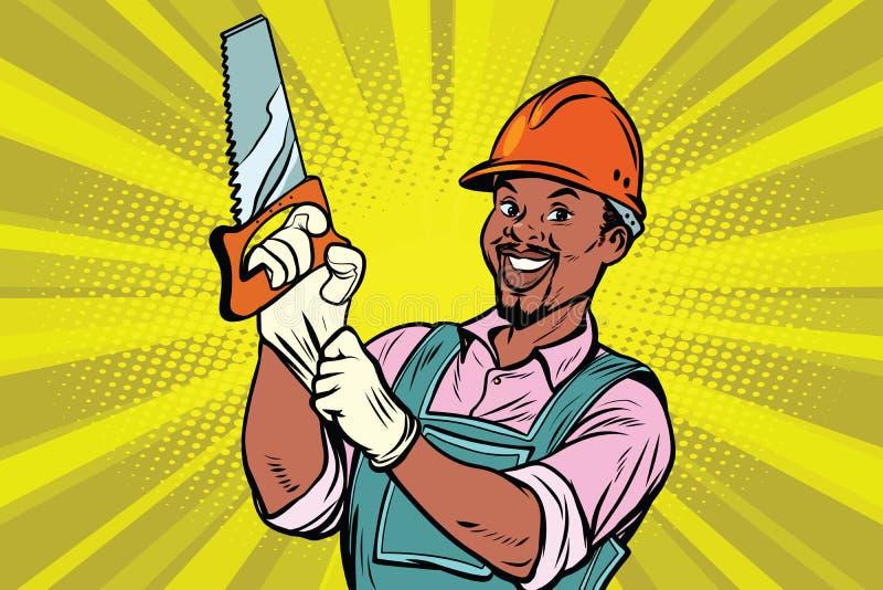 Εργάτης οικοδομών με το πριόνι απεικόνιση αποθεμάτων