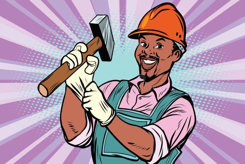 Εργάτης οικοδομών με το σφυρί διανυσματική απεικόνιση