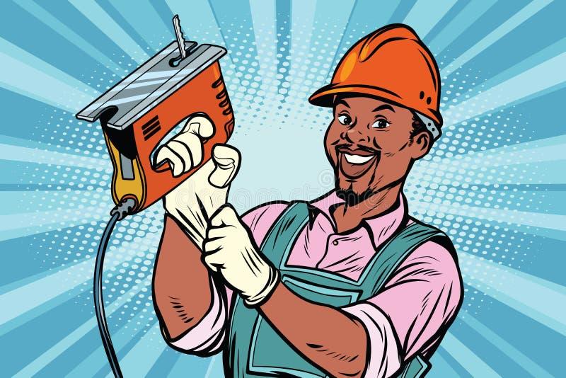 Εργάτης οικοδομών με το τορνευτικό πριόνι ελεύθερη απεικόνιση δικαιώματος