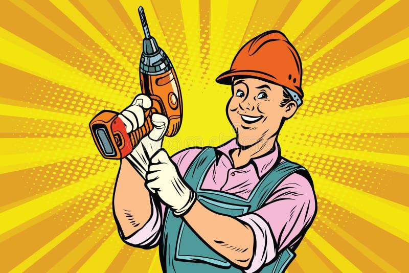 Εργάτης οικοδομών με το τρυπάνι εργαλείων επισκευής απεικόνιση αποθεμάτων