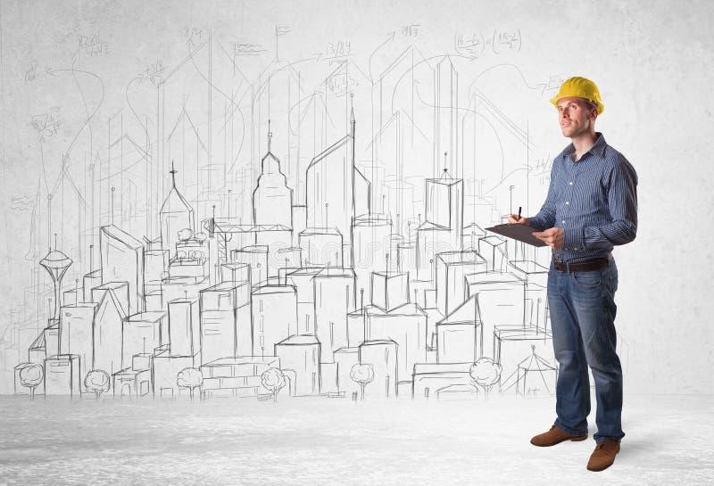 Εργάτης οικοδομών με το υπόβαθρο εικονικής παράστασης πόλης στοκ εικόνες με δικαίωμα ελεύθερης χρήσης