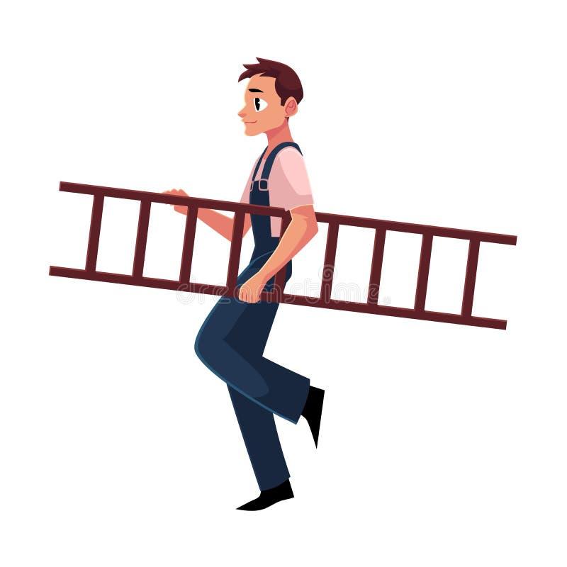 Εργάτης οικοδομών, οικοδόμος στο jumpsuit που πηγαίνει κάπου, φέρνοντας σκάλα απεικόνιση αποθεμάτων