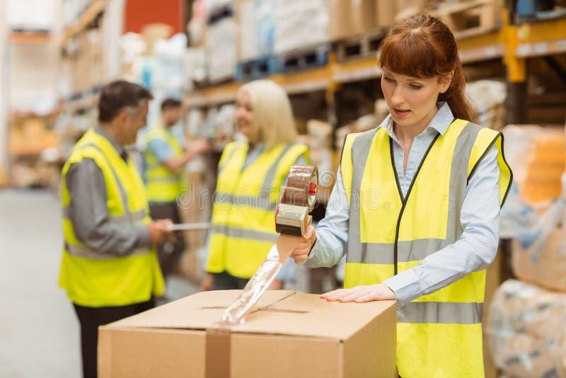 Εργαζόμενοι αποθηκών εμπορευμάτων που προετοιμάζουν μια αποστολή στοκ φωτογραφία με δικαίωμα ελεύθερης χρήσης