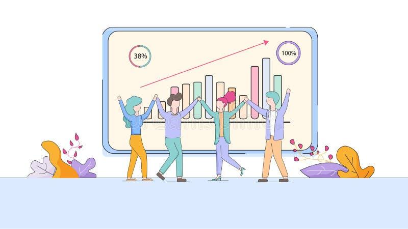 Εργαζόμενοι γραφείων ενθουσιώδεις στο μεγάλο όργανο ελέγχου με τις γραφικές παραστάσεις ελεύθερη απεικόνιση δικαιώματος