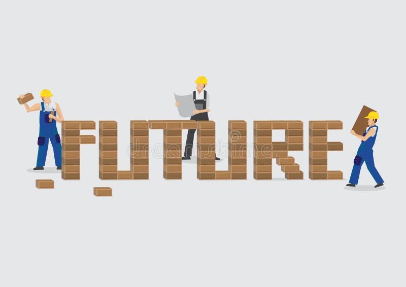 Εργαζόμενοι που εργάζονται μαζί για να χτίσει τα μελλοντικά κινούμενα σχέδια διανυσματικό Illu διανυσματική απεικόνιση