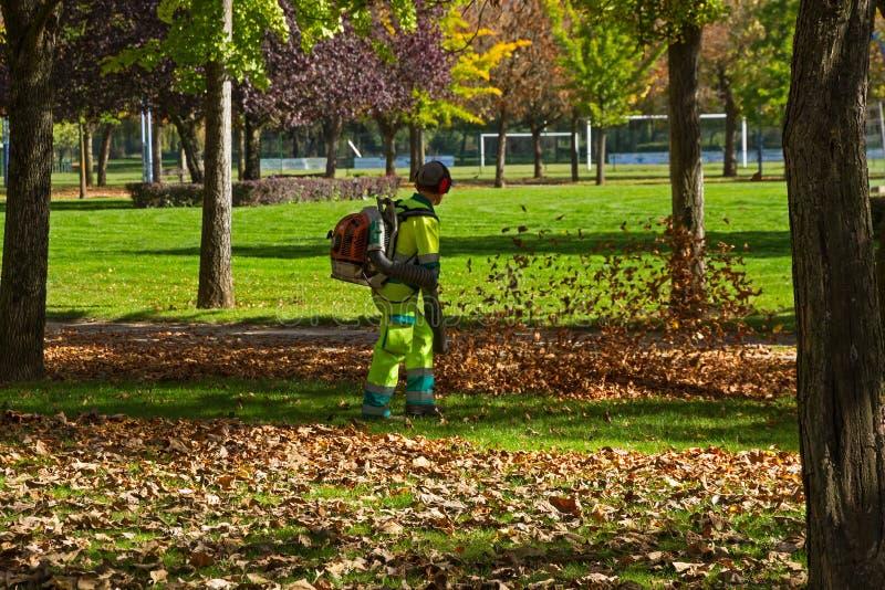 Εργαζόμενοι που καθαρίζουν τα φύλλα φθινοπώρου σε ένα πάρκο στοκ φωτογραφίες
