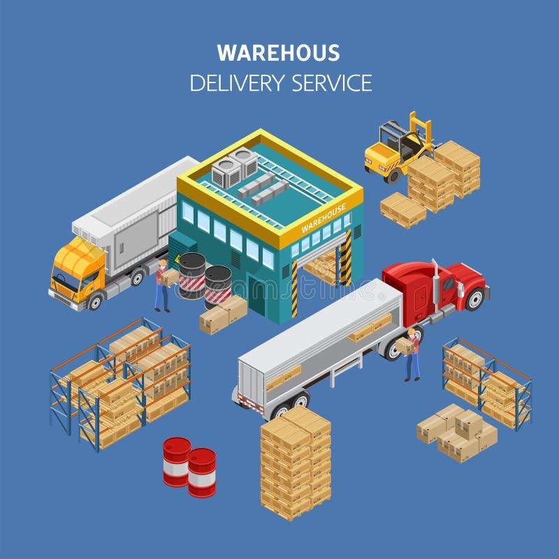 Εργαζόμενοι που φορτώνουν τα φορτηγά με τις συσκευασίες από την αποθήκη εμπορευμάτων διανυσματική απεικόνιση