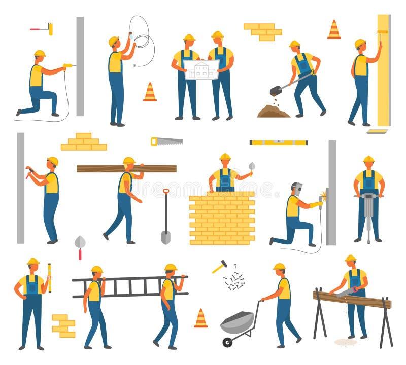Εργαζόμενοι σχεδίων κατασκευής και εργασίας καθορισμένοι διανυσματικοί διανυσματική απεικόνιση