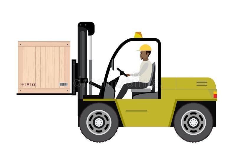 Εργαζόμενος αποθηκών εμπορευμάτων αφροαμερικάνων που φορτώνει τα ξύλινα κιβώτια διανυσματική απεικόνιση