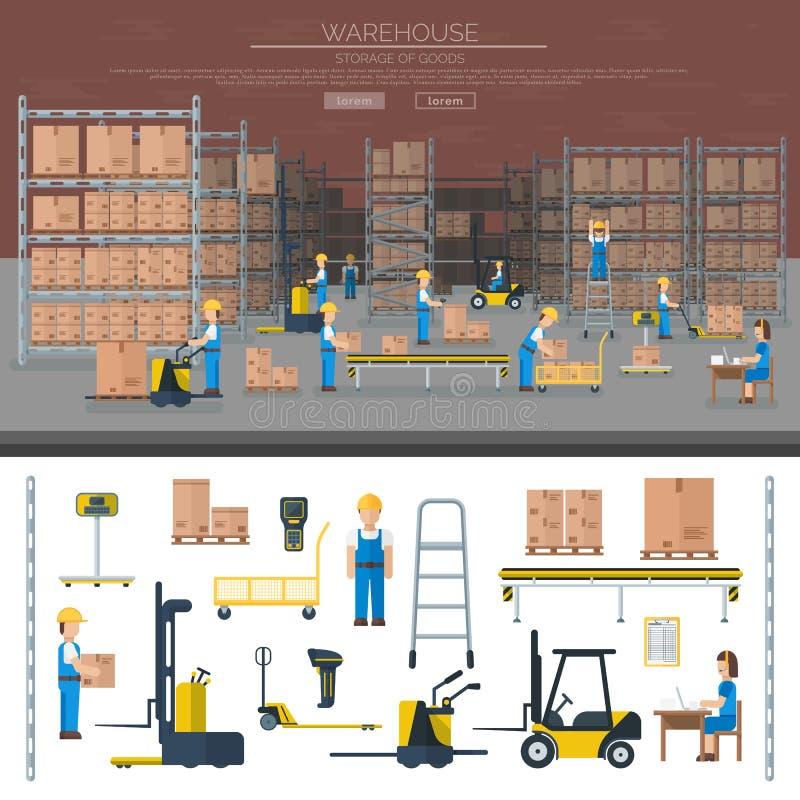 Εργαζόμενος αποθηκών εμπορευμάτων που παίρνει τη συσκευασία επίπεδα διανυσματικά εμβλήματα βιομηχανίας ραφιών στα λογιστικά διανυσματική απεικόνιση