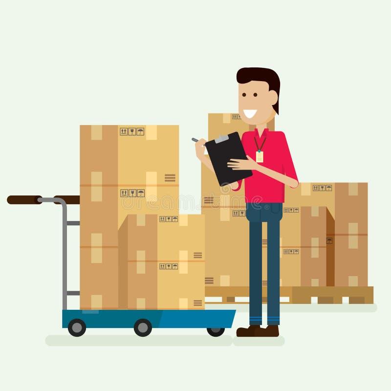 Εργαζόμενος αποθηκών εμπορευμάτων χαρακτήρα που ελέγχει τα αγαθά διάνυσμα απεικόνισης διανυσματική απεικόνιση