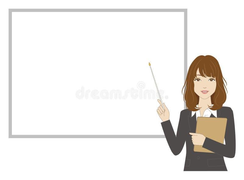 Εργαζόμενος γραφείων θηλυκών που κρατά έναν δείκτη ελεύθερη απεικόνιση δικαιώματος