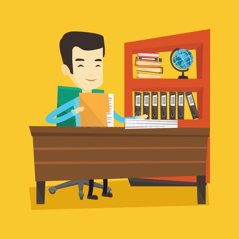 Εργαζόμενος γραφείων που εργάζεται με τα έγγραφα απεικόνιση αποθεμάτων