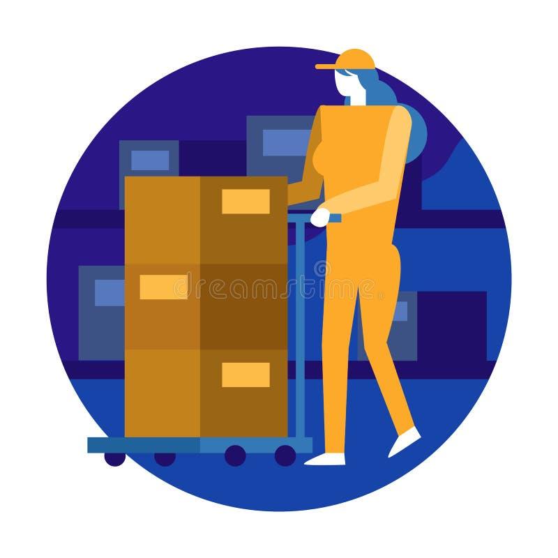 Εργαζόμενος γυναικών που οργανώνει τον κατάλογο και το απόθεμα στην αποθήκη εμπορευμάτων επίπεδος ελεύθερη απεικόνιση δικαιώματος