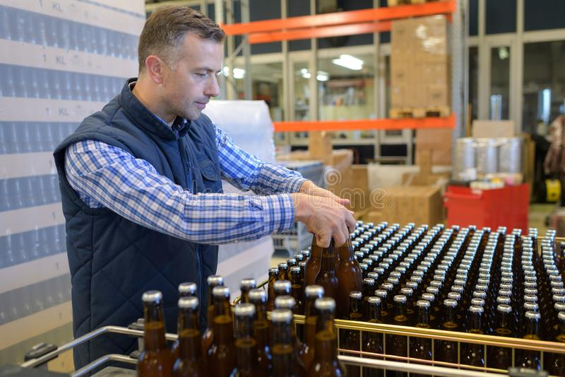 Εργαζόμενος ζυθοποιείων που τακτοποιεί τα μπουκάλια στοκ εικόνες