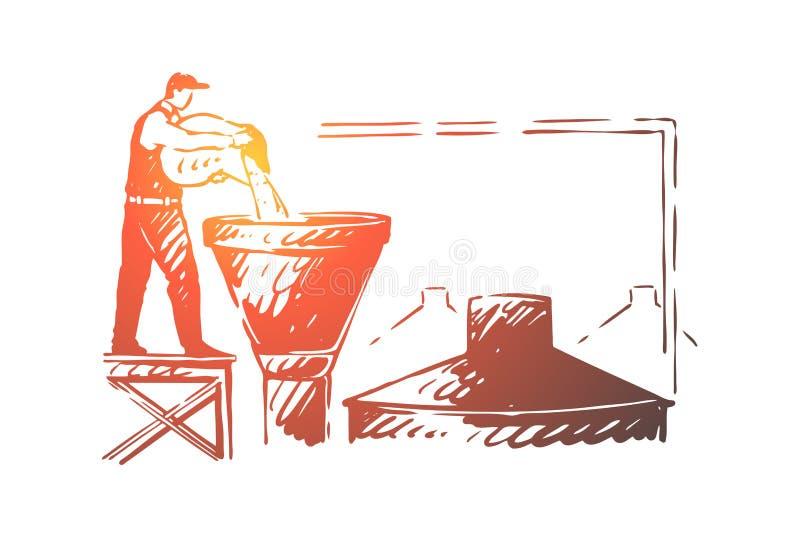 Εργαζόμενος ζυθοποιείων, υπάλληλος εργοστασίων οινοπνεύματος, χύνοντας συστατικό ζυθοποιών στη δεξαμενή, αγγλική μπύρα που κατασκ διανυσματική απεικόνιση