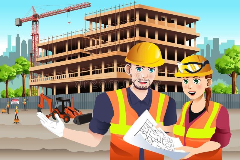 Εργαζόμενος θηλυκός εργάτης οικοδομών ελεύθερη απεικόνιση δικαιώματος