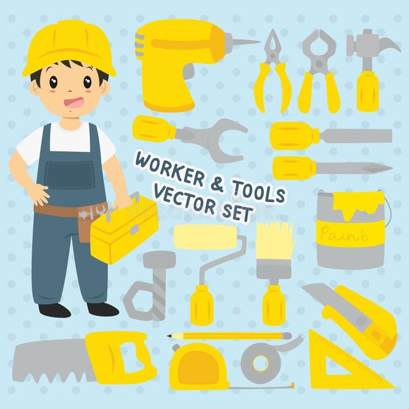 Εργαζόμενος και διανυσματικό σύνολο εργαλείων διανυσματική απεικόνιση