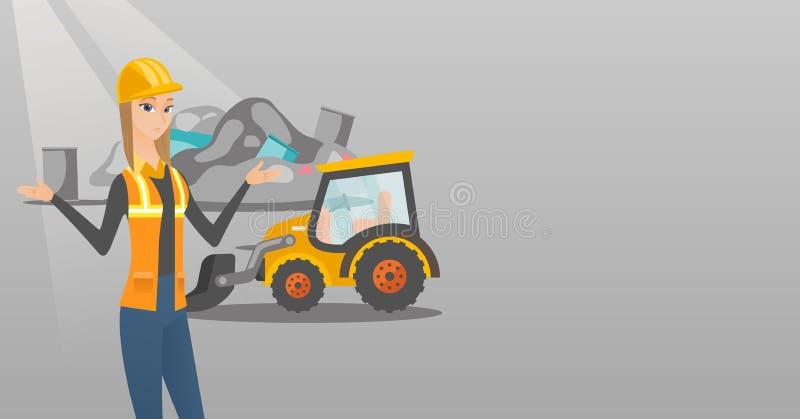 Εργαζόμενος και εκσακαφέας στην απόρριψη σκουπιδιών διανυσματική απεικόνιση