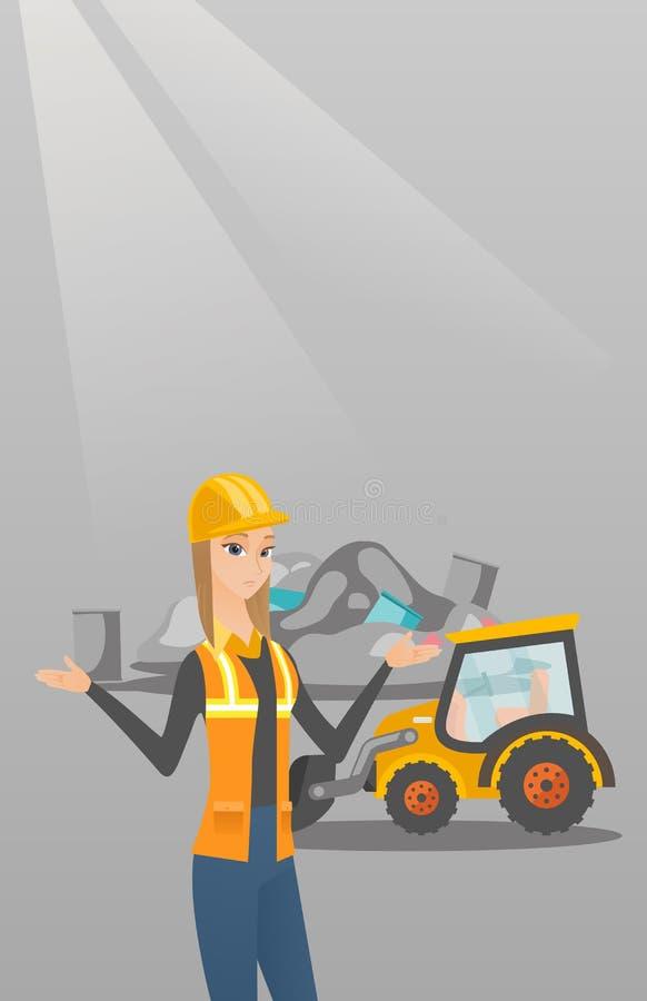 Εργαζόμενος και εκσακαφέας στην απόρριψη σκουπιδιών απεικόνιση αποθεμάτων