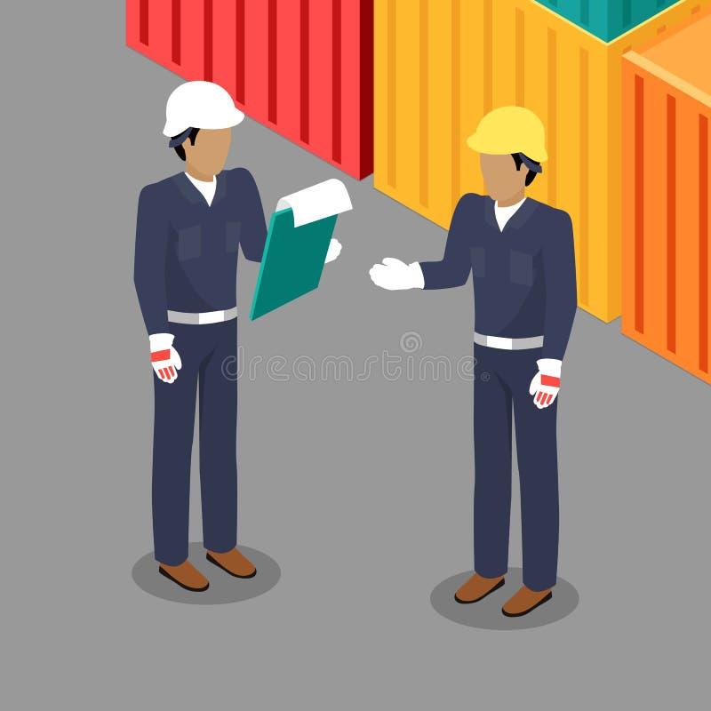 Εργαζόμενος και επιστάτης φορτίου που μιλούν στην αποθήκη εμπορευμάτων ελεύθερη απεικόνιση δικαιώματος